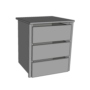 Chest of Drawers, 3 Deep Internal Dwrs, Scooped fronts inc.