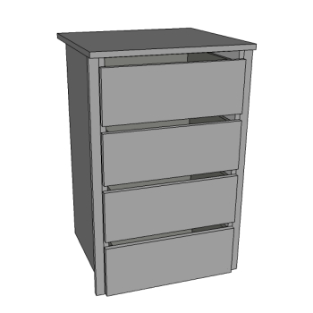 Chest of Drawers, 4 Deep Internal Dwrs, Scooped fronts inc.