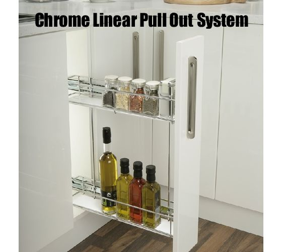 Pull Out Storage Unit, Chrome Linear Wire Basket