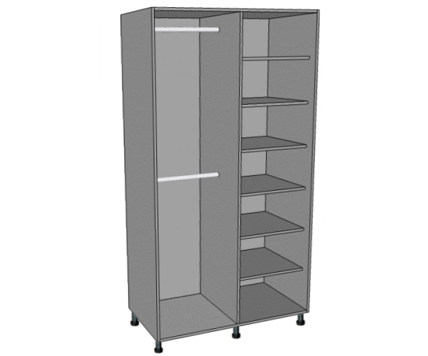 800 Wardrobe 1/2 Shelved - 1/2 Double Hanging