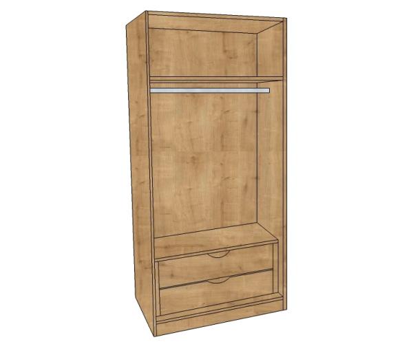 1200 Single Hanging Wardrobe With 2 Internal Drawers