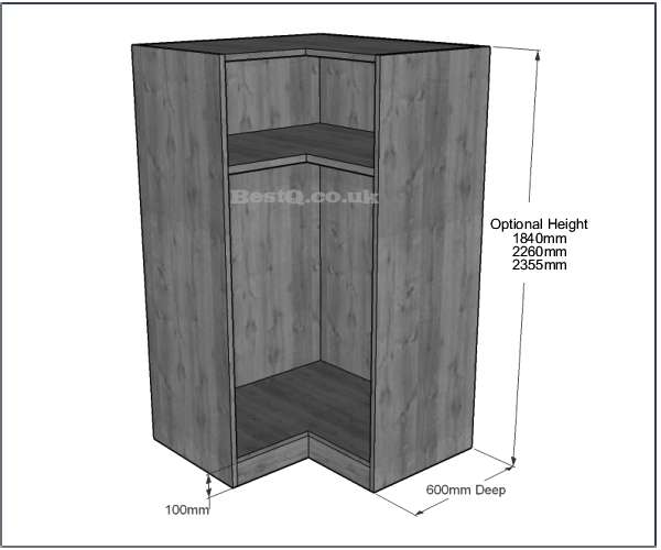 1042x1042 L Shape Corner Wardrobe Long Hanging