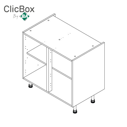 Clicbox Light Grey Drawerline/Base Double Unit