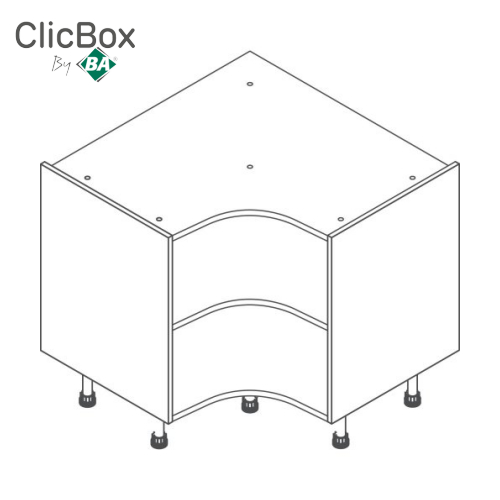 Clicbox Light Grey 910x910 Curved Corner Base Unit