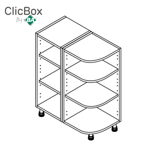 Clicbox Light Grey 300x570 Curved Base Unit