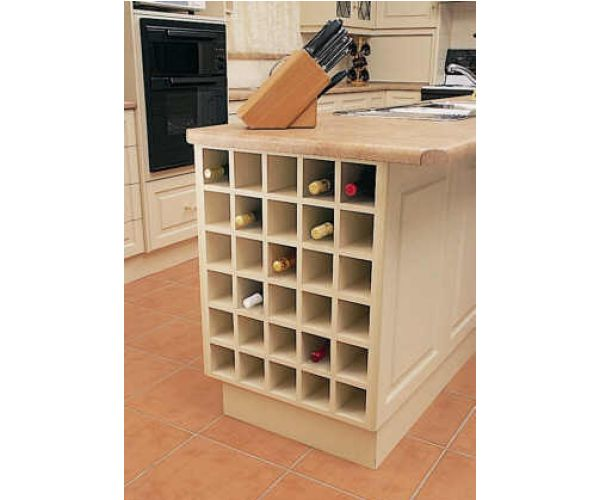 Kitchen Island with 600 Base Unit Wine Rack