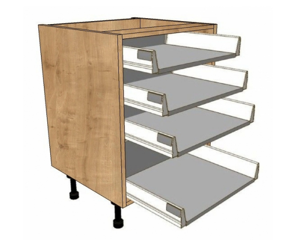 900 Wide 3 Shallow 1 Pan Drawers Unit Soft Close