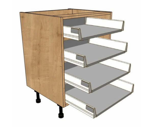 700 Wide 4 Shallow Drawers Unit Soft Close Drawer