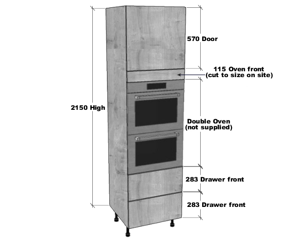 Double Oven Housing 2 Pan Drawers Unit 2150mm High