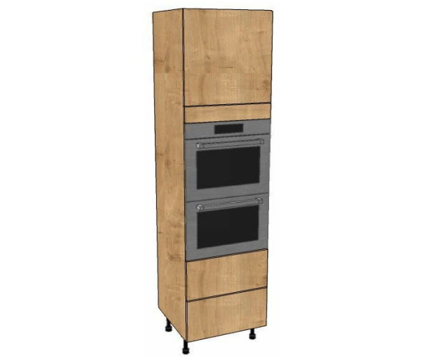 Double oven housing 2 pan drawers unit 2150mm high for Tall kitchen drawer unit