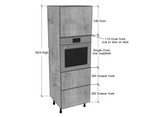 Single Oven Housing 2 Pan Drawers Unit 1825mm High