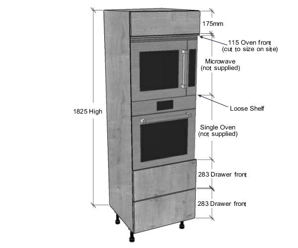 Single Oven Microwave Housing 2 Pan Drawers 1825 H