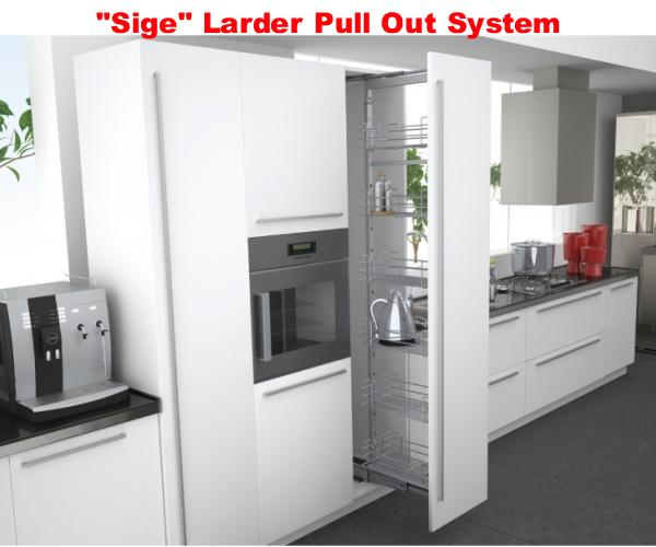 SIGE Pull-Out Larder with Silver Wire Baskets