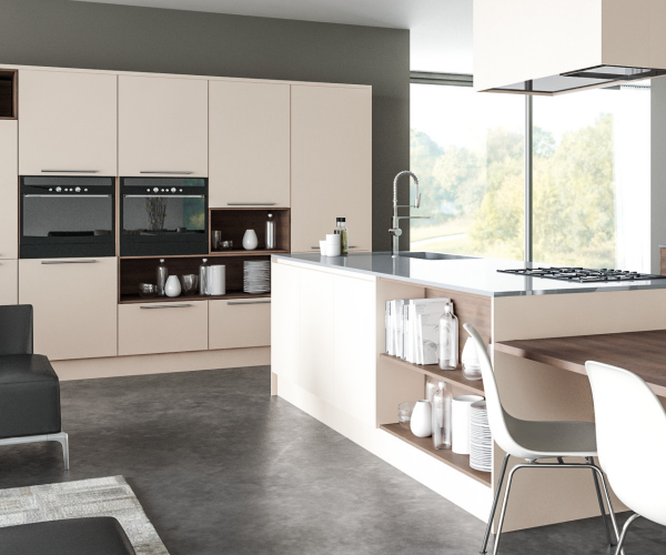Zurfiz Supermatt Cashmere and Gladstone Tobacco Oak Kitchen